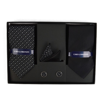 Dotted & Solid Tie with Matching Hanky and Cufflinks THCX12-BLK6