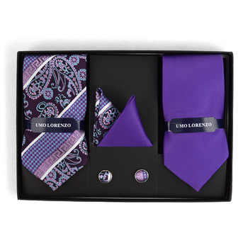 3pc Paisley & Solid Tie with Matching Hanky and Cufflinks THCX12-PSY1