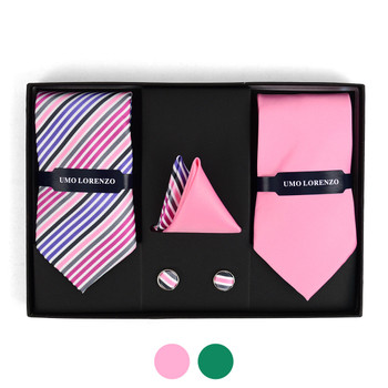 Striped & Solid Tie with Matching Hanky and Cufflinks THCX12-STP1