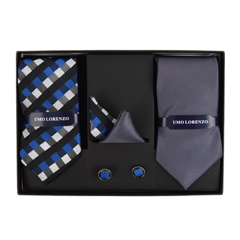 3pc Geometric & Solid Tie with Matching Hanky and Cufflinks THCX12-GEO1