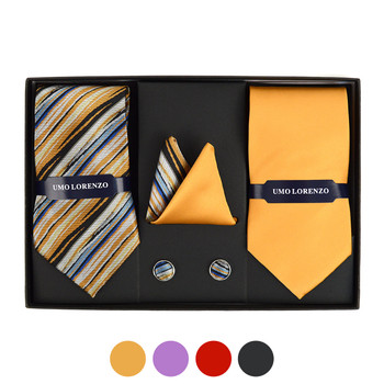 Striped & Solid Tie with Matching Hanky and Cufflinks THCX12-STP2