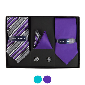 3pc Striped & Solid Tie with Matching Hanky and Cufflinks THCX12-STP3
