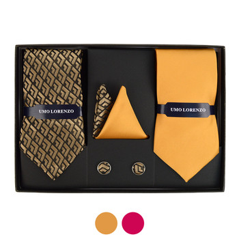 3pc Geometric & Solid Tie with Matching Hanky and Cufflinks THCX12-GEO2