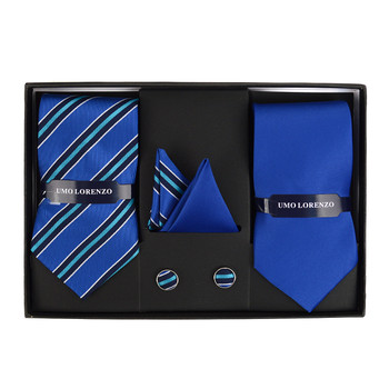 3pc Striped & Solid Tie with Matching Hanky and Cufflinks THCX12-STP4
