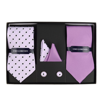3pc Polka Dot & Solid Tie with Matching Hanky and Cufflinks THCX12-DOT