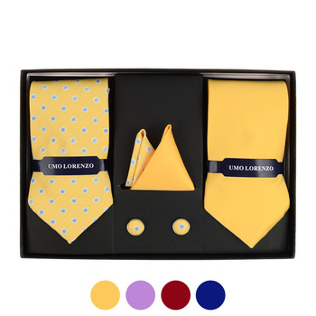 Polka Dot & Solid Tie with Matching Hanky and Cufflinks THCX12-DOT