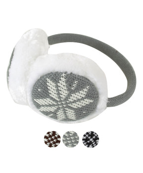 Knit Snowflake 'Over the Head' Winter Ear Muffs with White Fur Trim - EM1200