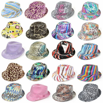 72pc Mixed Unisex Sequin Trilby Fedora Hats H1024-CO