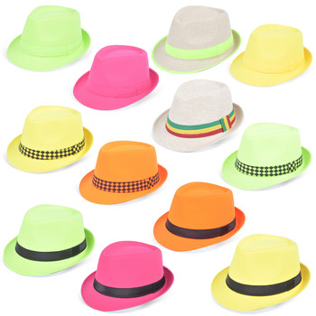 144pc Mixed Unisex Neon Trilby Fedora Hats HNEON-CO