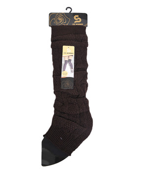 Chic Solid Color Knit Tall Leg Warmers Brown LW1032
