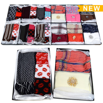 12-Boxes Mixed Men's & Women's Scarf, Socks and Brooch Gift Set - MWSSG12ASST