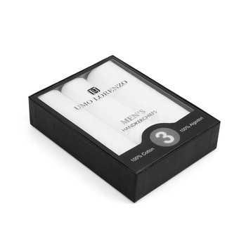 Boxed Men's Cotton Plain Handkerchiefs 3pcs Set HB003