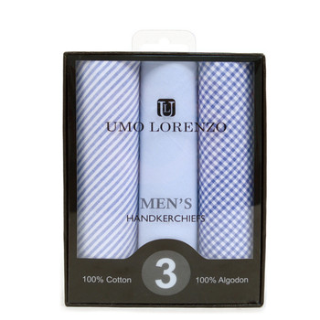 Boxed Men's Cotton Solid, Striped & Plaid Blue Handkerchiefs 3pcs Set - MFB1733