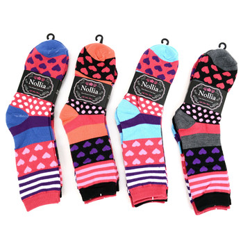 4-Packs (3 pairs/pack) Women's Hearts & Polka Dots Novelty Socks EBC-633