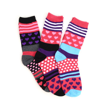 4-Packs (12 Pairs) Women's Hearts & Polka Dot Novelty Socks EBC-426
