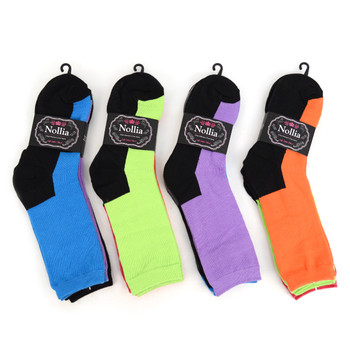 4-Packs (3 pairs/pack) Women's Solid Color with Black Bottom Socks EBC-646