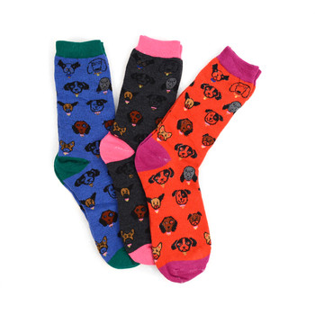 4-Packs (12 Pairs) Women's Dogs Novelty Socks EBC-6110