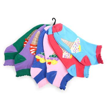 4-Packs (6 pairs/pack) Assorted Women's Ice Cream  Low Cut Socks EBA-620
