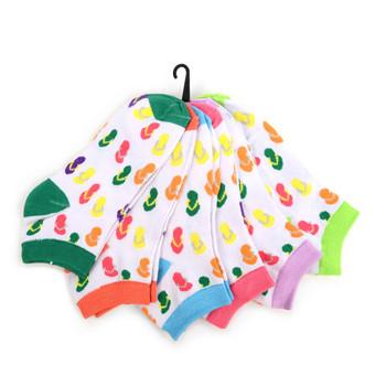 4-Packs (6 pairs/pack) Assorted Women's Flip Flops Pattern  Low Cut Socks EBA-675