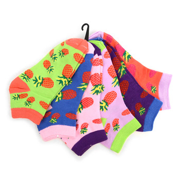 4-Packs (6 pairs/pack) Assorted Women's Red Pineapple Novelty  Low Cut Socks EBA-680