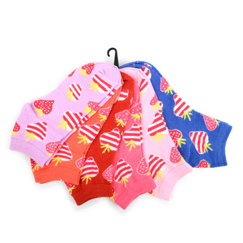 4-Packs (6 pairs/pack) Assorted Women's Striped Strawberry  Low Cut Socks EBA-681