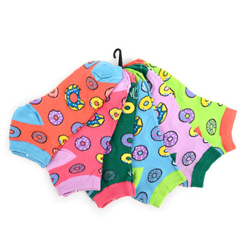 4-Packs (6 pairs/pack) Assorted Women's Multi-color Donuts Novelty  Low Cut Socks EBA-682