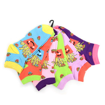 Assorted (6 pairs/pack) Women's Happy French Fries Novelty Low Cut Socks EBA-685