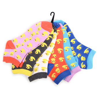 Assorted (6 pairs/pack) Women's Ducky Novelty Low Cut Socks EBA-687