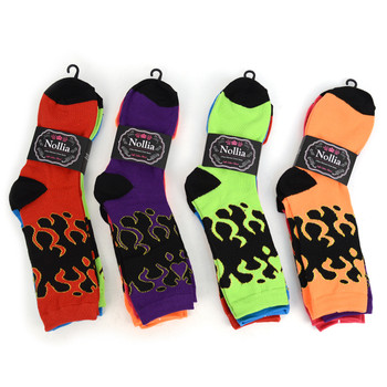 4-Packs (3 pairs/pack) Women's Fire Novelty Socks EBC-656