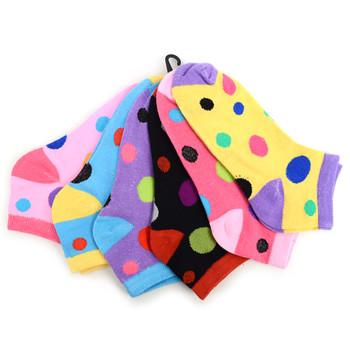 Assorted Pack (6 pairs) Women's Polka Dot Low Cut Socks LN6F1630