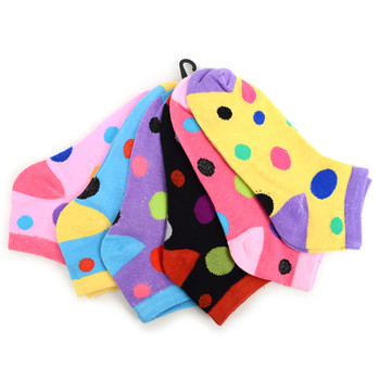 Assorted (6 pairs/pack) Women's Polka Dot Low Cut Socks LN6F1630