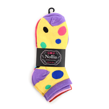 Assorted Pack (6 pairs) Women's Polka Dot Low Cut Socks LN6F1630