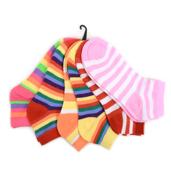4-Packs (6 pairs/pack) Assorted Women's Multi-Color Striped Low Cut Socks LN6F1631