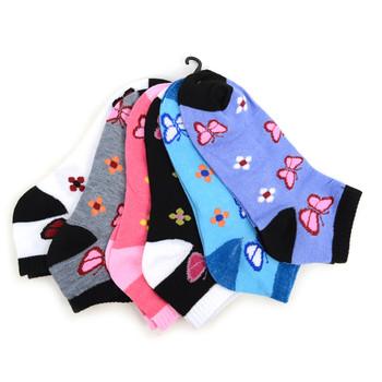 4-Packs (6 pairs/pack) Assorted Women's Butterflies  Low Cut Socks LN6F1632