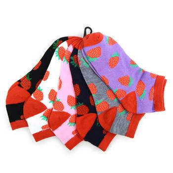 Assorted Pack (6 pairs) Women's Strawberries Low Cut Socks LN6F1635