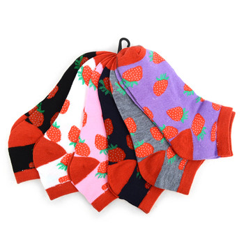 4-Packs (6 pairs/pack) Assorted Women's Strawberries Low Cut Socks LN6F1635