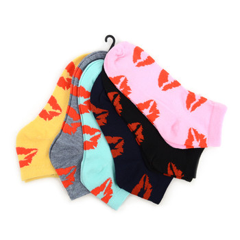 Assorted (6 pairs/pack) Women's Kisses Pattern Low Cut Socks LN6F1636