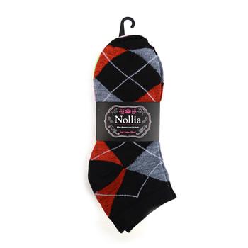 Assorted Pack (6 pairs) Women's Argyle Low Cut Socks LN6F1637