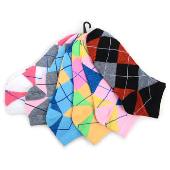 4-Packs (6 pairs/pack) Assorted Women's Argyle Low Cut Socks LN6F1637