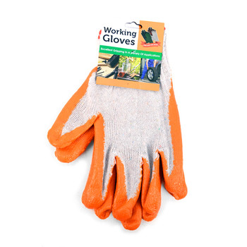 12pc Pack Working Gloves with Rubber Palm Coated - Orange - WGL1712