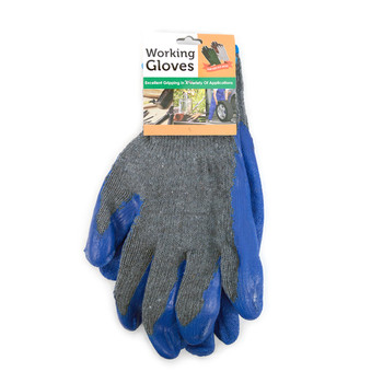 12pc Pack Working Gloves with Rubber Palm Coated - Blue- WGL1713