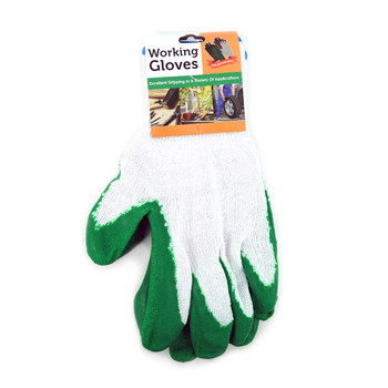 12pc Pack Working Gloves with Rubber Palm Coated - Green - WGL1714