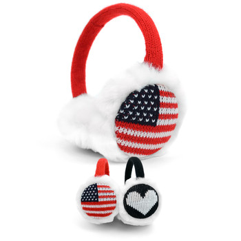 American Flag & Heart Pattern 'Over The Head' Winter Ear Muffs with White Fur Trim - EM1215