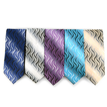 Waves Pattern Geometric Microfiber Poly Woven Tie - MPW5930
