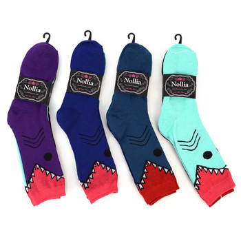 4-Packs (3 pairs/pack) Women's Shark Novelty Socks EBC-631-2