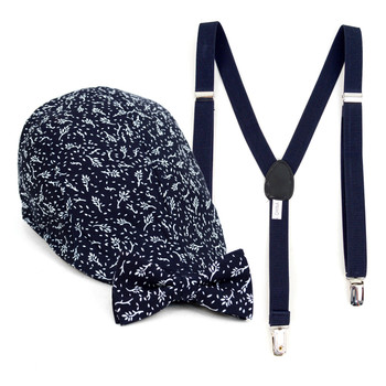 Boy's Navy Clip-on Suspender, Botanical Pattern Ivy Hat & Matching Bow Tie Set