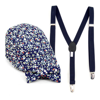Boy's Navy Clip-on Suspender, Floral Pattern Ivy Hat & Matching Bow Tie Set