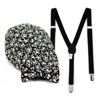 Boy's Black Clip-on Suspender, Floral Pattern Ivy Hat & Matching Bow Tie Set