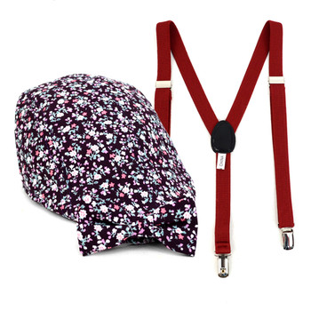Boy's Burgundy Clip-on Suspender, Floral Pattern Ivy Hat & Matching Bow Tie Set