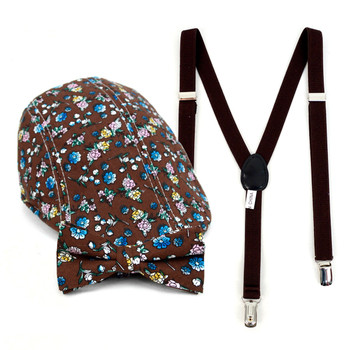Boy's Brown Clip-on Suspender, Floral Pattern Ivy Hat & Matching Bow Tie Set